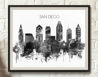 Black and White San Diego Skyline, Digital Poster, Watercolor, California Cityscape, San Diego decor, Typography, Digital Download