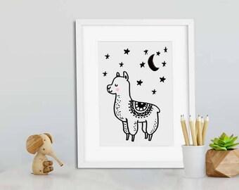 Goodnight Llama print//Nordic//nursery//boho nursery//2017 top nursery//kids bedroom theme