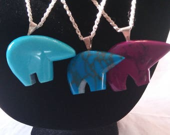 Turquoise and Granite Bear Necklaces ( finished pieces)