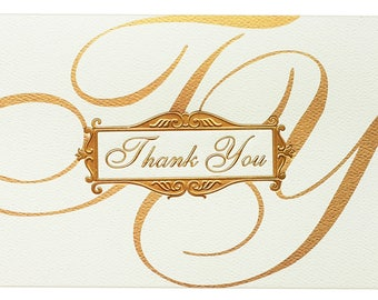 Thank You Cards// Gold Foil // Set of 10// Greeting Cards + cream Envelopes//Thank you card set// Wedding //Thank you notes//Thank Yous