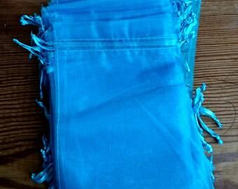 Blue organza bag, 10.5cm x15 cm  blue gift bag, blue fabric gift bag,  organza pouch, jewellery pouch, jewellery holder.
