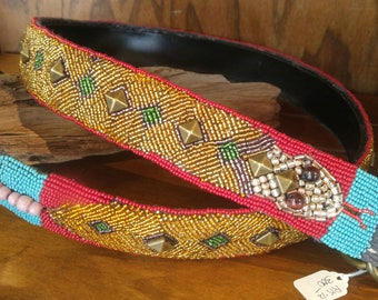 Beadwork Snakebelt, Native American Style, Pow wow Style, Individually Sewn Seed Beads