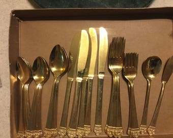 National Stainless Gold electroplate flatware set