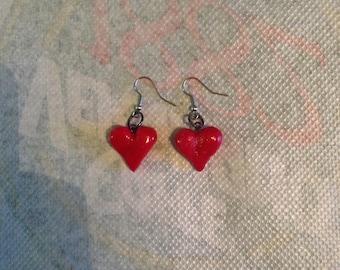 """Earrings """"red heart"""""""