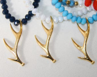 Handmade Necklace Coral Pendant in Three colors Navy Blue White Turquoise