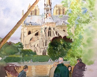 Notre Dame de Paris, watercolour