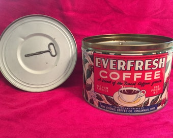 Everfresh Coffee Can with Green, Red, and White Floral Pattern