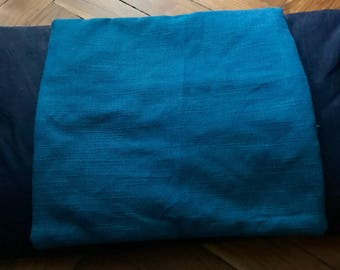 Pillowcase in elegant fabric processing sackcloth piece teal blue