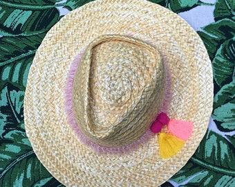 Straw Fedora Summer Hat with Tassel Detail