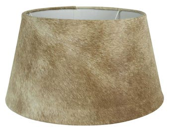 Cowhide Lampshade: fur lamp shade diameter 40-45 cm, 100% real fur beige