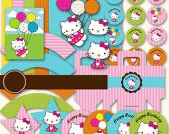 Hello kitty Birthday Set-Printable Package-Digital Hello kitty Kit-Pokemon Party Decoration-  Birthday Party-Instant Digital Download