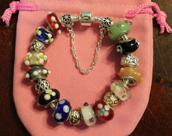 Charm Bracelet, European style with beads, charms and safety chain