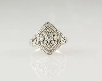 10K White Gold Vintage Inspired Diamond Engagement Ring Size 6 3/4