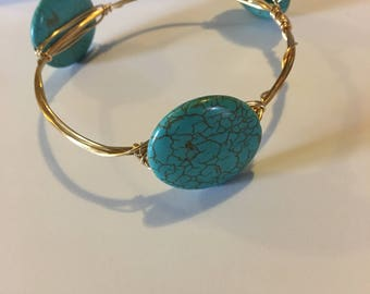 Round Turquoise Wire Bangle
