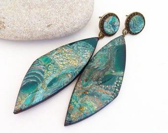 Green earring Polymer clay earring Earring Handmade polymer clay jewelry Green jewelry Green color