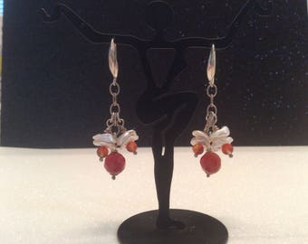 Beautiful faceted carnelian with pearl toppers sterling silver earrings