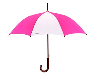 Ludlow by Preppy Umbrella Pink & White Bright Wooden Handle Brolly