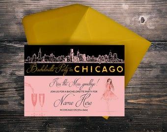Chicago Party Invitations, Bridal Shower, Bachelorette Party, Invitations, Postcard Invitations, Digital Invitations