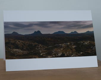 Mountain Panorama, Assynt, Scotland, Golden light, blank card