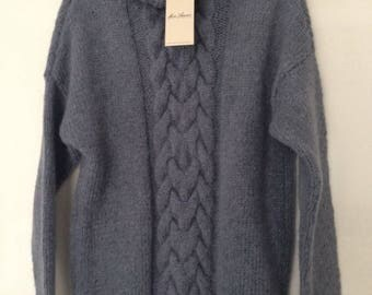 hand knit sweater baby alpaca, grey, New collection, knit fashion, classic