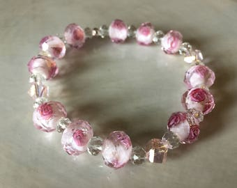 """8"""" pink and clear beads with roses, stretch bracelet"""