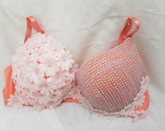 Pastel flower gem bra