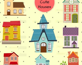 80% off Promo sale,Cute houses design digital clipart set,clipart commercial use, vector graphics