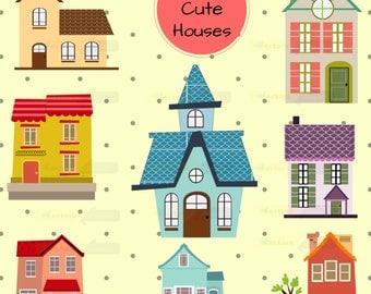 80% off Promo sale,Cute houses design digital clipart set,clipart commercial use, vector graphics