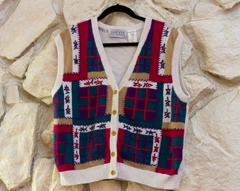 Bright Patterned Holiday Vest
