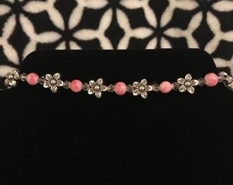 Pink flower choker, pink choker, choker, pink necklace, flower necklace, flower choker, flower jewelry, silver necklace, silver flowers