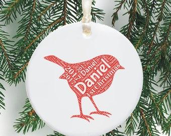 Baby's First Christmas Ceramic Tree Decoration Word Art Robin Design