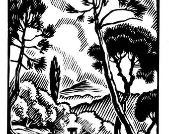 Provence landscape, framed, Paul Jacob Hians 1937 screen print reproduction