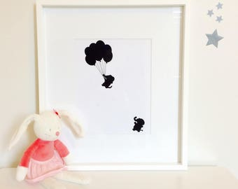 Elephant nursery art - Monochrome print -animal balloon print-nursery decor -Framed baby prints -kids print-Christening Gift-baby room print