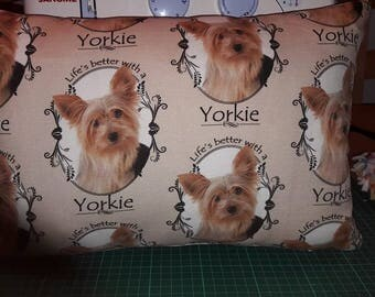 "SALE !! 17"" x 11.5"" Yorshire Terrier/ Yorkie Cushion, Eco friendly print process, Hypoallergenic, Machine Washable"