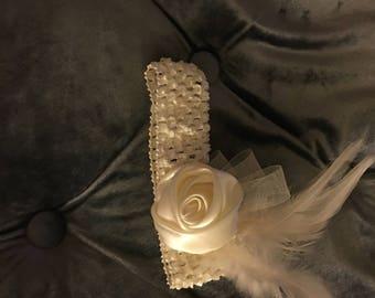 Girl headband, baby Headband, Ivory headband, Infant Headband,Headband, feather headband,
