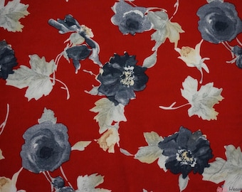 Red Fall Viscose Challis Print Fabric
