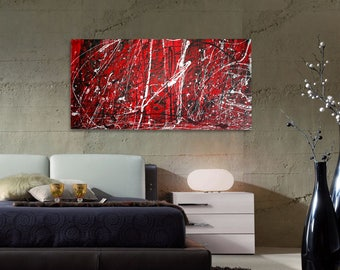 Ref and Black Abstract Painting, Abstract Painting, Modern Art on Canvas