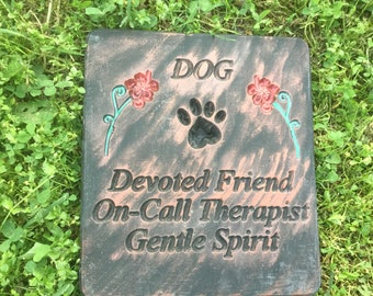 Dog Concrete Large Stepping Stone, Plaque Devoted Friend, Gentle Spirit Free Shipping
