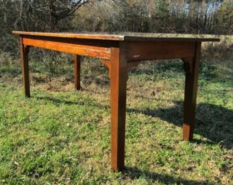 Antique French Pine Rustic Traditional Farmhouse Dining / Kitchen Table 78""