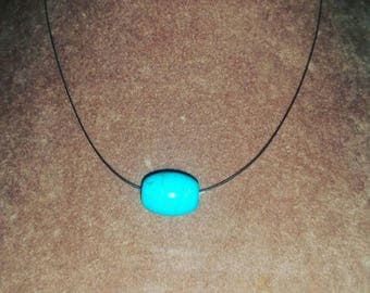 Silver plated turquoise choker pendant