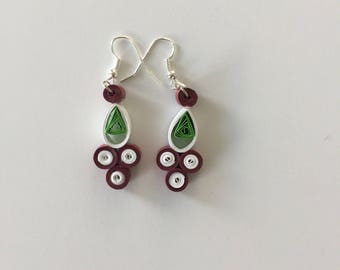 Maroon and white paper dangle earrings