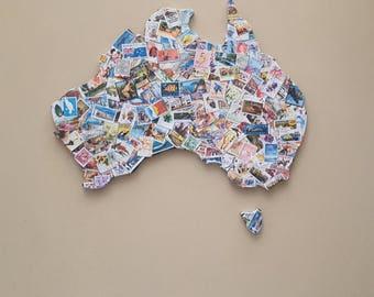 Australia map featuring Aussie stamps