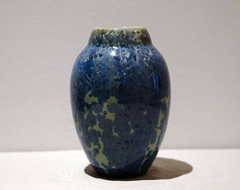 Porcelain Vase with Blue Crystalline Glaze