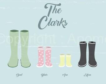 Rain boots family portrait