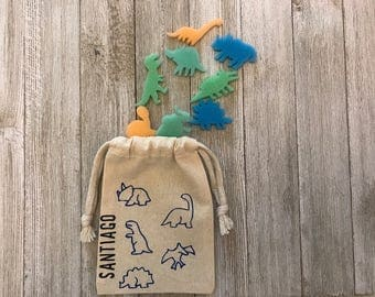 Dinosaurs-Personalized-Birthday Party-Boy-Girl-Muslin Bag-Party Favors