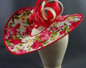 Red and white floral fascinator hat, handmade occasion hat