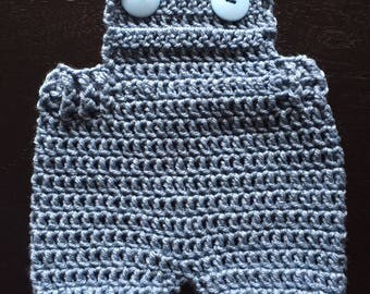 Crocheted Overall Shorts for Newborn