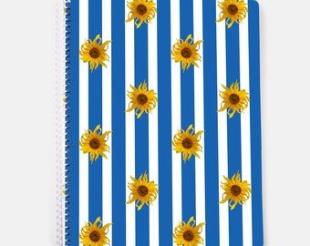 Floral notebook, sunflowers on blue and white stripes, spiral notebook, 60 lined pages, bullet journal
