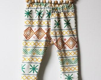 Egypt legging or harem // Size newborn up to 5/6 yo // Maternity gift, baby legging flowers, handmade, unique fabric design