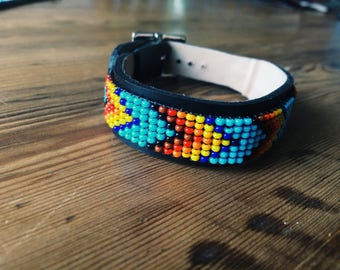 Handmade leather beaded bracelets by Natives - Black